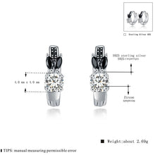 Load image into Gallery viewer, Black Awn Romantic 925 sterling silver rabbit Engagement Hoop Earrings for Women Black Spinel Stone Jewelry Bijoux TT166