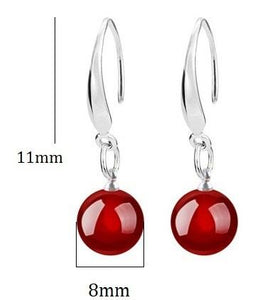 US STOCK Uloveido Silver Color Black Jewelry Party Dangling Earrings for Women Wedding with red stones Anel Christmas Gift WH002 - shopsatang.com