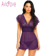 Load image into Gallery viewer, Avidlove 2020 New Lace Lingerie Sexy Hot Erotic Nightwear Women Mesh See Through Chemise Nightdress Langeri Negligee Sex Costume