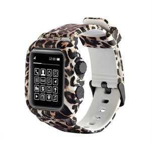 Waterproof Case For Apple Watch Band 4 iWatch Bands 42mm Silicone Strap 44mm Leopard Bracelet Cover Smart Watch Accessories
