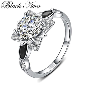 2018 New Fower 925 Sterling Silver Fine Jewelry Engagement Black Spinel Flower Engagement  Ring for Women Anillos Mujer G086