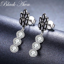 Load image into Gallery viewer, Cute Boucle D'Oreille Femme 2018 Flower 925 Sterling Silver Black Spinel Engagement Earrings for Women Fine Jewelry Bijoux I069 - shopsatang.com