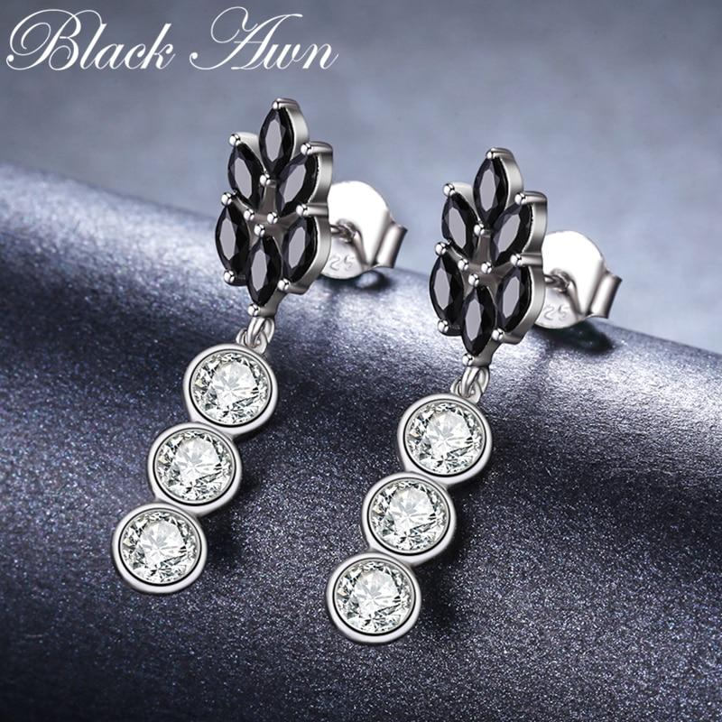 Cute Boucle D'Oreille Femme 2018 Flower 925 Sterling Silver Black Spinel Engagement Earrings for Women Fine Jewelry Bijoux I069 - shopsatang.com