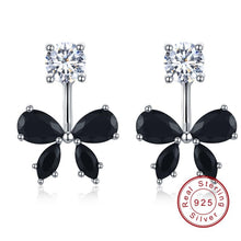 Load image into Gallery viewer, Romantic 925 Sterling Silver Butterfly Black Spinel Trendy Engagement Earrings for Women Fine Jewelry oorbellen Bijoux I046 - shopsatang.com