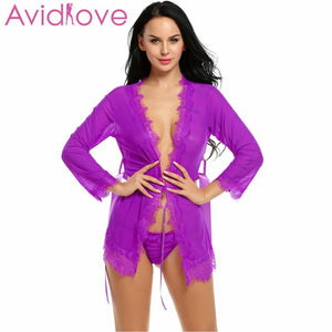 Avidlove Sexy Lingerie Robe Dress Women Lingerie Sexy Hot Erotic Plus Size Nightwear Sex Costumes Bathrobe Dressing Nightgown