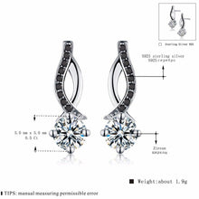 Load image into Gallery viewer, Genuine 925 Sterling Silver Jewelry Black&White Stone Engagement Stud Earrings for Women T014