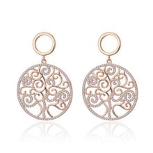 Load image into Gallery viewer, Rose Gold Silver Cubic Zirconia Tree of life Drop earrings Big Round Design Earring Women Luxury Jewelry Christmas Wedding Gift - shopsatang.com
