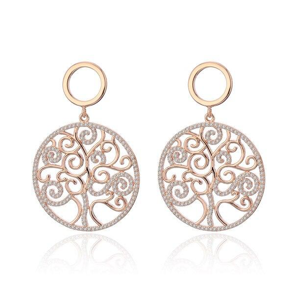 Rose Gold Silver Cubic Zirconia Tree of life Drop earrings Big Round Design Earring Women Luxury Jewelry Christmas Wedding Gift - shopsatang.com