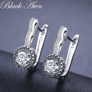 Vintage Genuine 925 Sterling Silver Engagement Hoop Earrings for Women with Black&White Stone Jewelry Bijoux T001