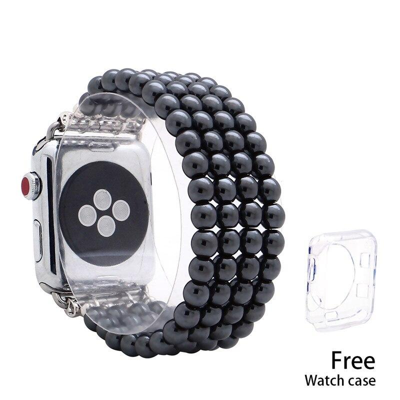 Lureen Elastic Apple Watch Band 38/40/42/44mm, with Free Watch Case, Unisex Fashion Handmade Bracelet Strap for iWatch 5/4/3/2/1 - shopsatang.com