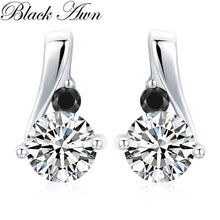 Load image into Gallery viewer, BLACK AWN New 925 Sterling Silver Fine Jewelry Trendy Engagement Earrings for Women Female Wedding Earrings I114