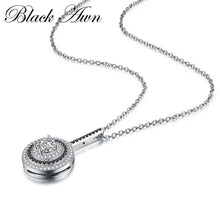 Load image into Gallery viewer, Classic Fine Genuine 100% 925 Sterling Silver Slide Necklace Women Jewelry Round Bijoux Femme Necklaces&Pendants P074