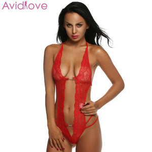 Avidlove Women Sexy Lingerie Hot Erotic Lace Mini Teddy Sexy Underwear Front Open Lenceria Sexy Costume Sleepwear Plus Size