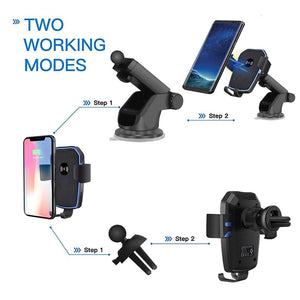Car Mount Qi Wireless Charger For iPhone 11 XS XR X 8 Quick Charge 10W Fast Charging Car Phone Holder Stand For Samsung S10 S9