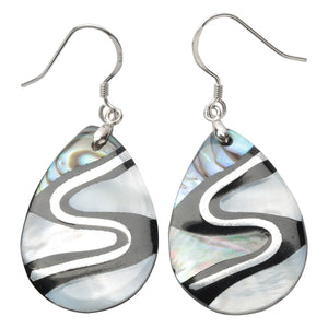 Yacq 925 Sterling Silver Abalone Shell Teardrop Drop Dangle Earrings Jewelry Gifts for Women Girls Mom Her dropshipping H204