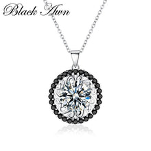 Load image into Gallery viewer, BLACK AWN Silver Necklace Genuine 100% 925 Sterling Silver Slide Necklace Women Jewelry Classic Round Necklaces&Pendants P113 - shopsatang.com