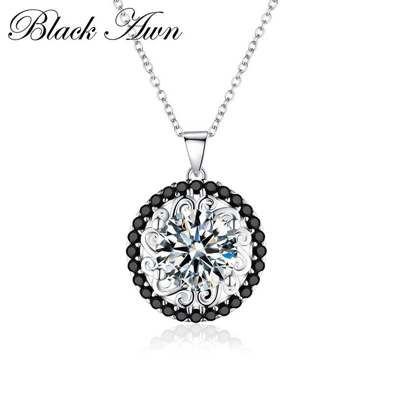 BLACK AWN Silver Necklace Genuine 100% 925 Sterling Silver Slide Necklace Women Jewelry Classic Round Necklaces&Pendants P113 - shopsatang.com