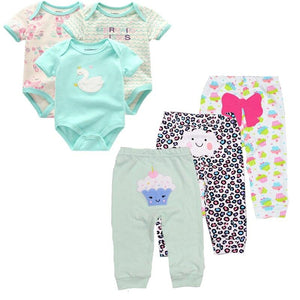 6PCS/lot Short Sleeve Baby Romper +pant Cartoon boys Clothes sets 2020 Summer girl baby jumpsuit Kids Baby Outfits Clothing