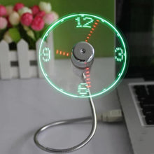 Load image into Gallery viewer, New USB Gadget Mini Flexible LED Light USB Fan Time Clock Desktop Clock Cool Gadget Time Display For Notebook Laptop Flexible