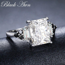 Load image into Gallery viewer, 2019 New Fower 925 Sterling Silver Fine Jewelry Engagement Black Spinel Round Engagement Ring for Women Anillos Mujer G091