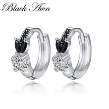 Load image into Gallery viewer, Black Awn Romantic 925 sterling silver rabbit Engagement Hoop Earrings for Women Black Spinel Stone Jewelry Bijoux TT166 - shopsatang.com