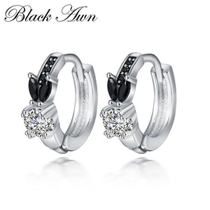 Black Awn Romantic 925 sterling silver rabbit Engagement Hoop Earrings for Women Black Spinel Stone Jewelry Bijoux TT166 - shopsatang.com