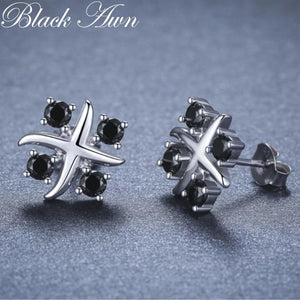 Black Awn Romantic 925 Sterling Silver Jewelry Natural Black Spinel Party Stud Earrings for Women Bijoux I118