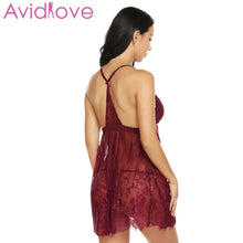 Load image into Gallery viewer, Avidlove Women's  Pajamas Sexy Lingerie Hot Erotic Nightwear Open G-String Front Floral Sleepwear Ribbon Babydoll Nightgown