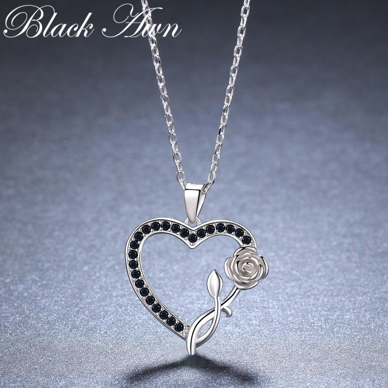 2019 New Heart Flower Romantic 925 Sterling Silver Fine Jewelry Trendy Flower Engagement necklaces & pendants for Women KK008 - shopsatang.com
