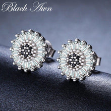 Load image into Gallery viewer, Romantic Birthday Present 925 Sterling Silver Jewelry Engagement Round Stud Earrings for Women Black Spinel Female Earring I013