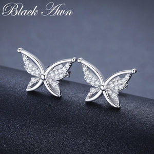 Black Awn Romantic 925 Sterling Silver Jewelry Natural Cute Butterfly Party Stud Earrings for Women Bijoux II111