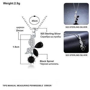 Butterfly Romantic New Arrive 925 Sterling Silver Fine Jewelry Trendy Flower Engagement necklaces & pendants for Women KK015