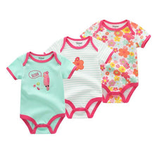 Load image into Gallery viewer, 3Pcs Baby Girl Clothes Fashion Infant Unicorn 0-12M Baby Boy Clothes Short Sleeve Baby Bodysuits Roupas de bebe Clothing Sets