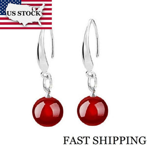 US STOCK Uloveido Silver Color Black Jewelry Party Dangling Earrings for Women Wedding with red stones Anel Christmas Gift WH002