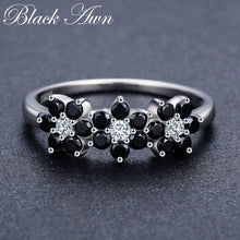 Load image into Gallery viewer, Cute 2.1g 925 Sterling Silver Fine Jewelry Flower Bague Black Spinel Wedding Rings for Women Girl Party Gift C464