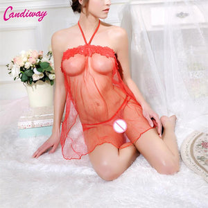 Sexy Lace Women Sleeveless G-string Transparent Babydoll Underwear Dresses Nightgown Lingerie Sleepwear Chemise Dress - shopsatang.com