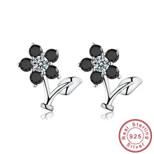 Load image into Gallery viewer, Black Awn Romantic Flower 925 Sterling Silver Jewelry Engagement Stud Earrings for Women Black&White Earring TT033 - shopsatang.com