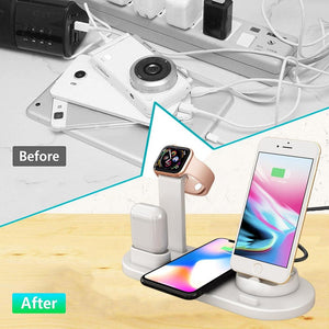 4 in 1 Wireless Charger Stand For iPhone 11 8 XS XR Apple Watch Airpods Pro 10W Qi Fast Charging Dock Station for Samsung S10 S9