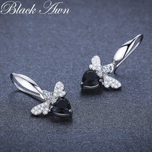Load image into Gallery viewer, Black Awn Trendy 2.5g 925 Sterling Silver Earring Black Spinel Anniversary Butterfly Drop Earrings for Women Fine Jewelry I089