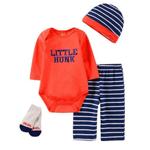 Load image into Gallery viewer, 2019 baby Boy's Clothing Set summer cotton Cartoon baby clothes Newborn Kids 4 Piece suits infant bodysuits+pants+socks+Bib/Cap - shopsatang.com
