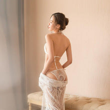 Load image into Gallery viewer, Transparent lace pyjamas for sexy lingerie + sexy lace bra with neck hanging around the neck for see-through underwear