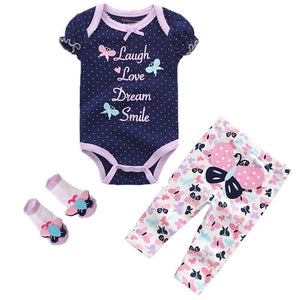 Summer toddler Baby Girls Bodysuits Sets Short Sleeve Clothing And Pants 6-12M Baby Jumpsuit roupas de bebe Baby Boys Clothes