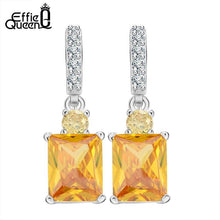 Load image into Gallery viewer, Effie Queen 4ct Big Square AAA Yellow Cubic Zircon Earrings Luxury Women Wedding Engagement Dangle Earrings Jewelry HOE126