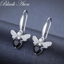 Load image into Gallery viewer, Black Awn Trendy 2.5g 925 Sterling Silver Earring Black Spinel Anniversary Butterfly Drop Earrings for Women Fine Jewelry I089 - shopsatang.com