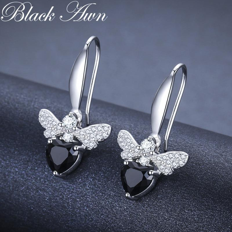 Black Awn Trendy 2.5g 925 Sterling Silver Earring Black Spinel Anniversary Butterfly Drop Earrings for Women Fine Jewelry I089 - shopsatang.com