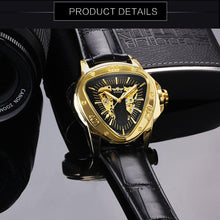 Load image into Gallery viewer, WINNER Official Sports Automatic Mechanical Men Watch Racing Triangle Skeleton Wristwatch Top Brand Luxury Golden + Gift Box