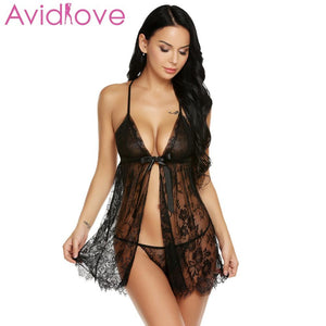 Avidlove Women's  Pajamas Sexy Lingerie Hot Erotic Nightwear Open G-String Front Floral Sleepwear Ribbon Babydoll Nightgown