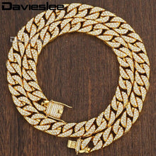 Load image into Gallery viewer, Iced Out Chain Necklace for Men Paved Rhinetones Yellow Gold Filled Miami Curb Cuban Link 14mm Mens Jewelry LGN455