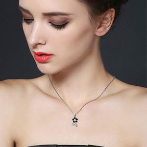 Black Awn Flower Silver Necklace Sterling Silver Design Fine Jewelry Trendy Engagement Necklaces for Women Wedding Pendants P164