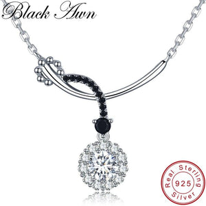 Black Awn Romantic New Arrive 925 Sterling Silver Fine Jewelry Trendy Round Engagement necklaces & pendants for Women KK027